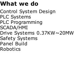 What we do   Control System Design  PLC Systems  PLC Programming  SCADA/HMI  Drive Systems 0.37KW~20MW  Safety Systems  Panel Build Robotics